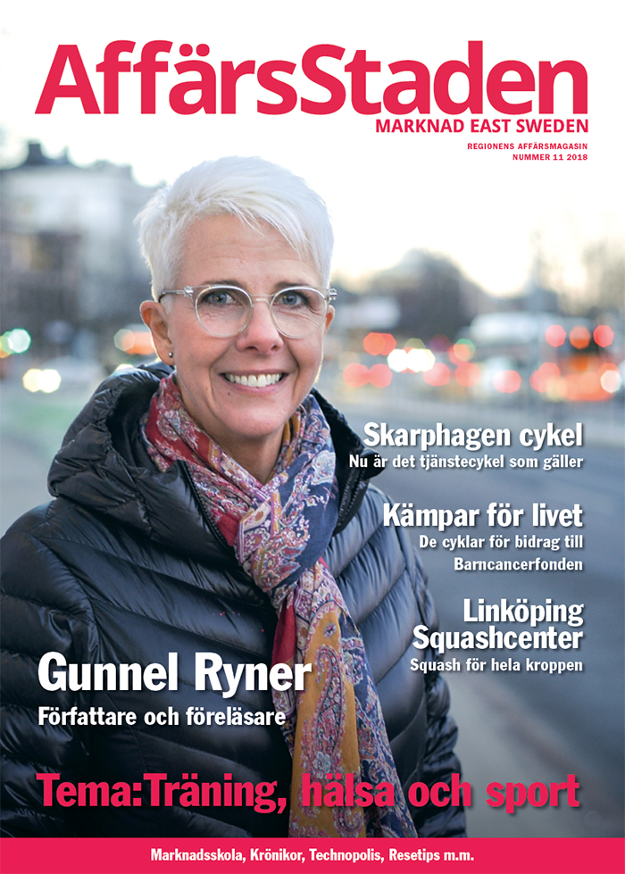 Gunnel Ryner på omslaget till tidningen Affärsstaden