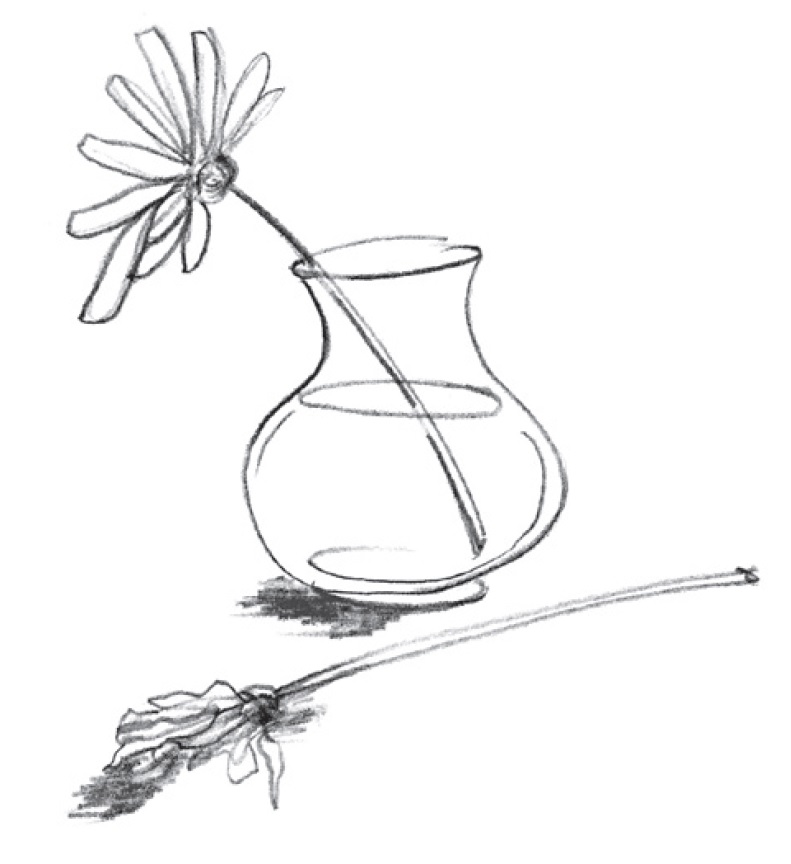 Frisk blomma i vas, vissen blomma bredvid