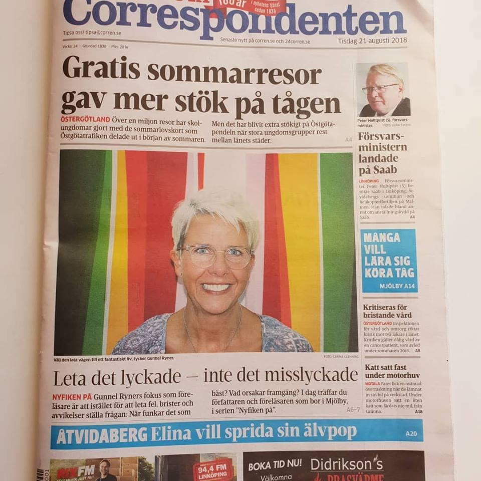 Gunnel Ryner på Östgöta Correspondentens framsida