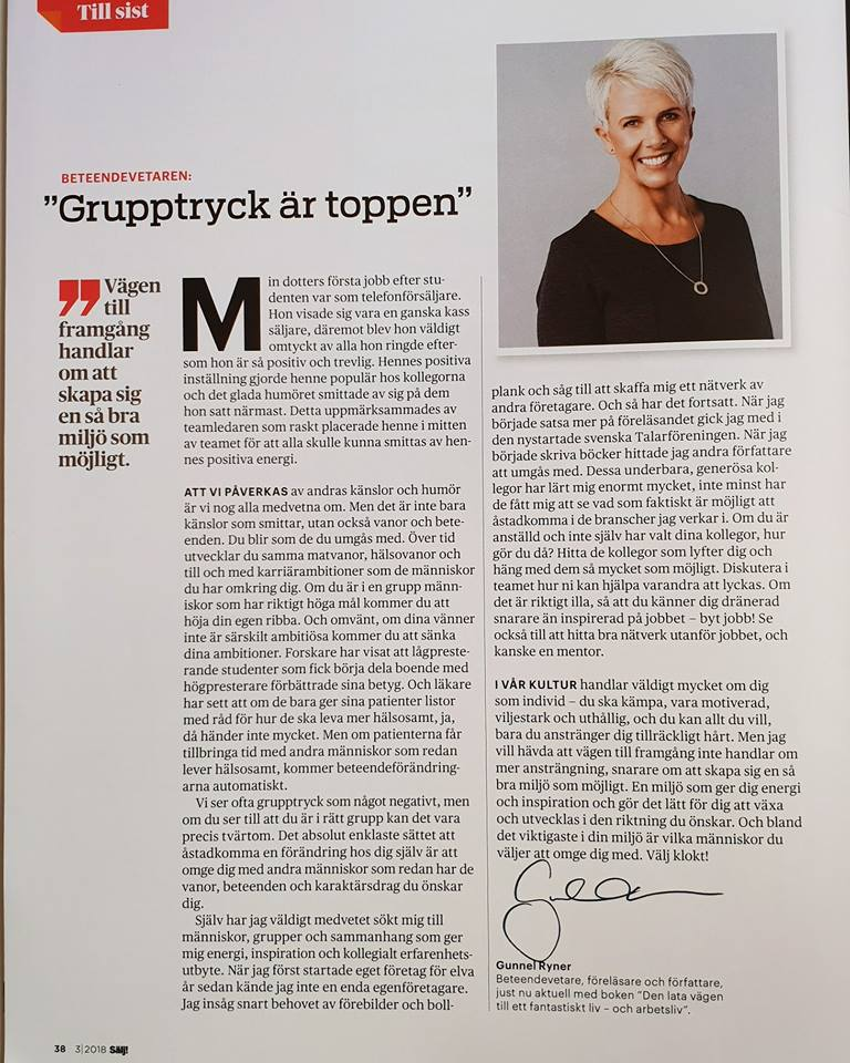 Bild på krönika i tidningen Sälj!