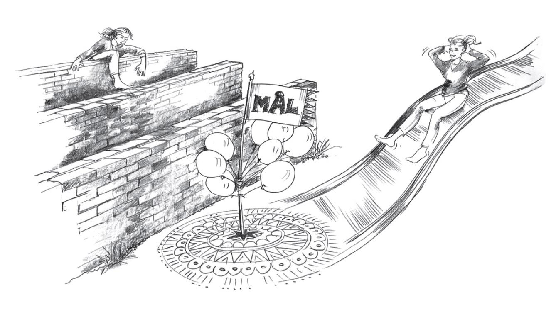 en person klättrar över mur, en annan åker rutschkana mot målet