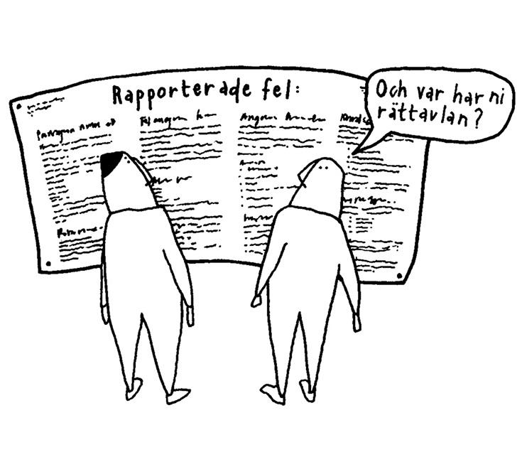 """Teckning av två figurer framför feltavla, en frågar """"Och var har ni rättavlan?"""""""