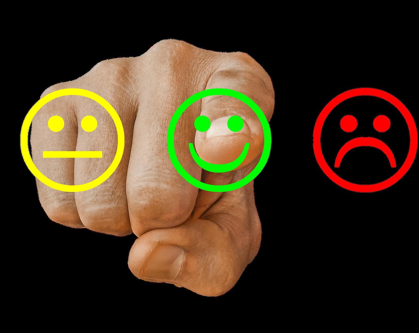 Kundundersökning tre smileys, neutral/nöjd/missnöjd, finger som pekar på nöjd
