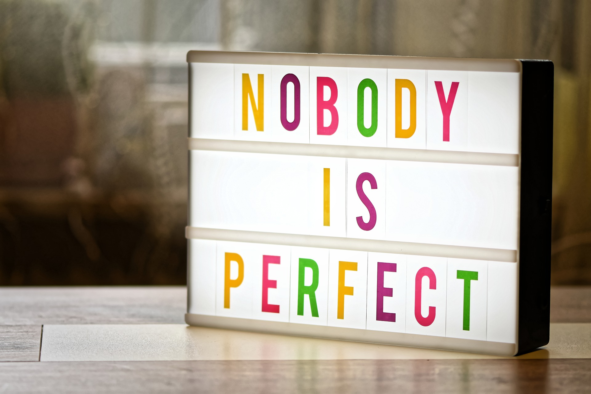 Skylt med texten Nobody is perfect