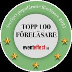 Rund dekal med texten Sveriges populäraste föreläsare 2021, Topp 100 föreläsare, eventeffect.se